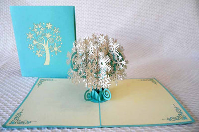 Pop Up Card 208 Snowflake Tree blue