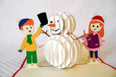 Pop Up Card 210 Snowman with Children