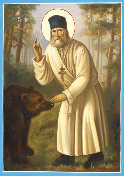 Icon Print Saint Seraphim with Bear