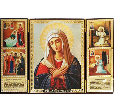 Tenderness Mother of God with St Seraphim Life Scenes Triptych016