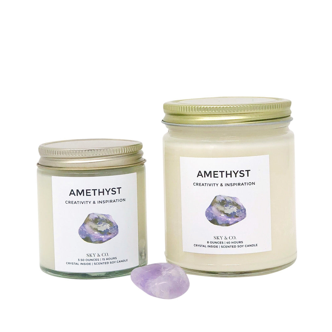 Amethyst Candle - Crystal Infused Candle