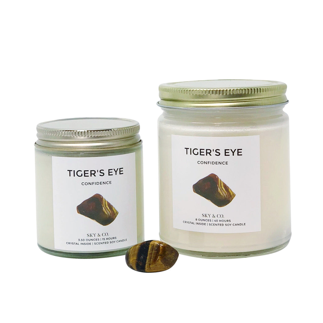 Tiger's Eye Candle  - Crystal Infused Candle