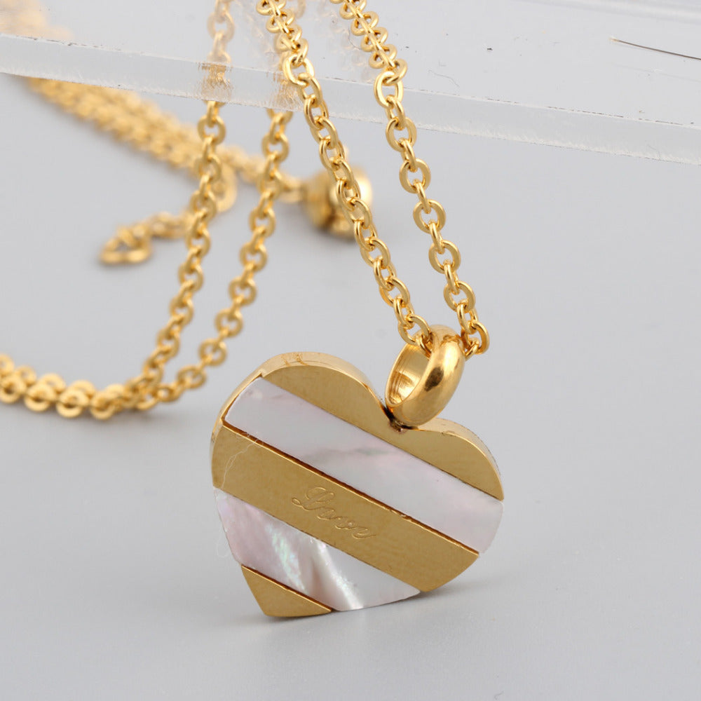 Heart Stainless Steel Shell Pendant Jewelry fashion Gold necklaces for