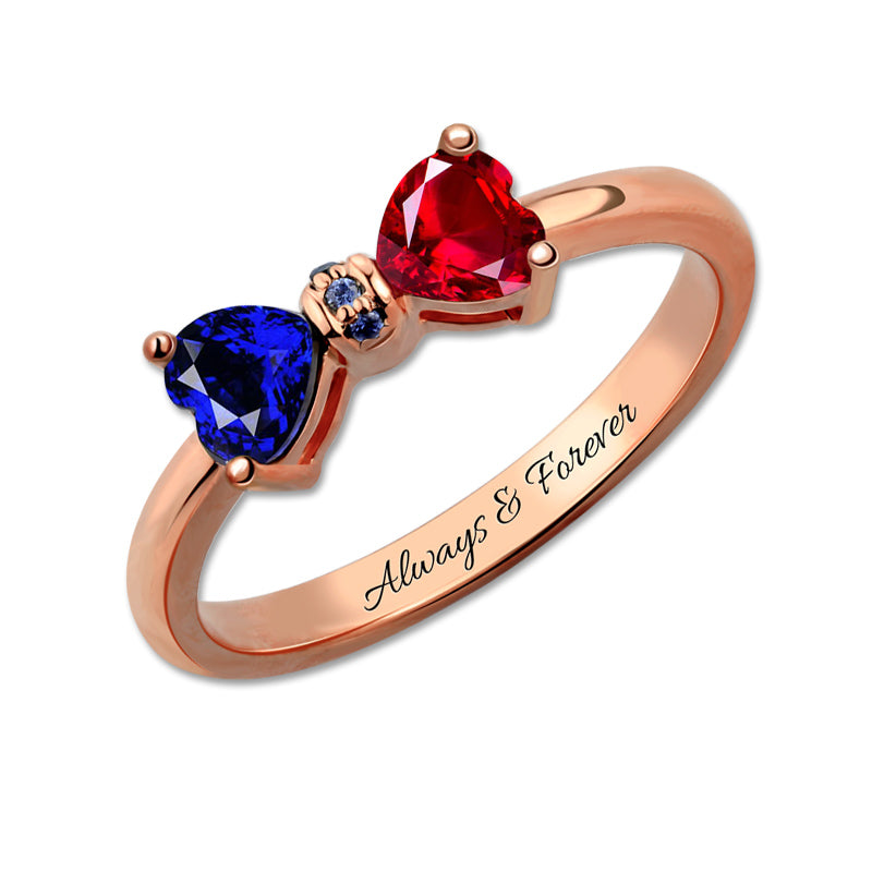 Customized Engraved Birthstones Bow Ring Sparkling Rose Gold Color Per