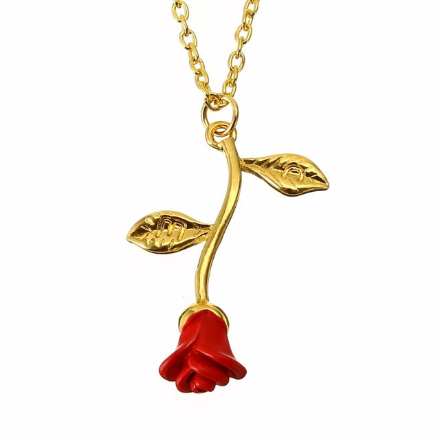 Red rose flower necklace mozeypictures Choice Image