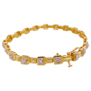 Diamond Tennis Bracelet with 19 Diamonds, Yellow Gold with Safety Latch