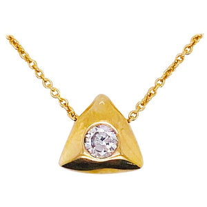 Round Diamond Trillion Necklace