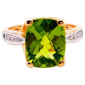4 Carat Peridot and Diamond Band Rose Gold Ring in 14K Gold Antique Cushion Cut