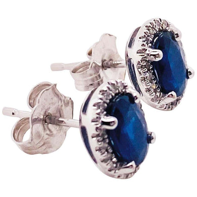 1.25 Carat Blue Sapphire and Diamond Halo Oval Earring Studs in 14 Karat Gold