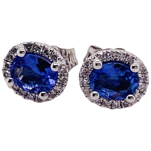 Oval Tanzanite and Diamond Halo Earring Studs 14 Kara Gold December Birthstone