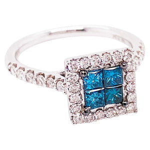 1 Carat Princess Cut Blue Diamond and Diamond Halo Ring 14 Karat White Gold