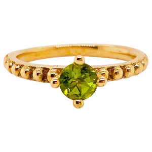 .5 Carat Peridot Solitaire Beaded Band Ring in 14 Karat Yellow Gold, August B Stone
