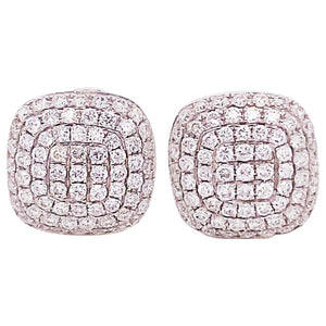 .75 Carat Diamond Pave Cushion Stud Earrings 18 Karat White Gold Diamond Earring