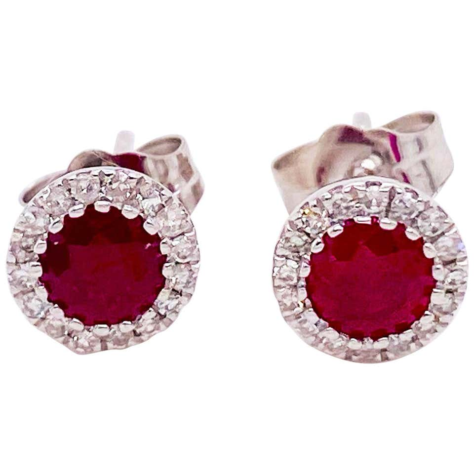 Ruby and Diamond and 14 Karat Gold Stud Earrings with Halo Diamonds, Rubies