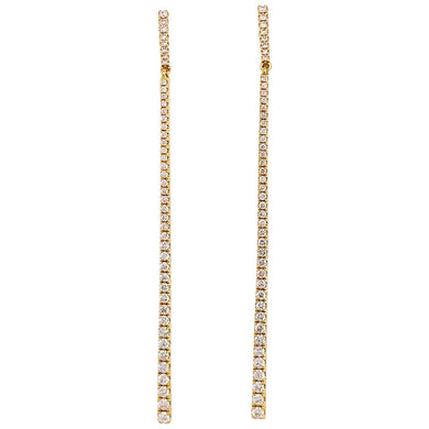 1 Carat Diamond Bar Earring Dangles 18 Karat Gold 1.00 Carat Diamond Drops