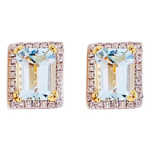 2.50 Carat Blue Topaz and Diamond Halo Earring Studs 14 Karat Gold Emerald Topaz