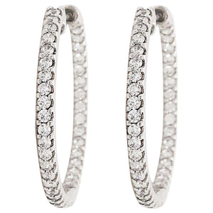 1.30 Carat Diamond Inside Out Hoop Earrings in 14 Karat Gold Eternity 1.30 Carat