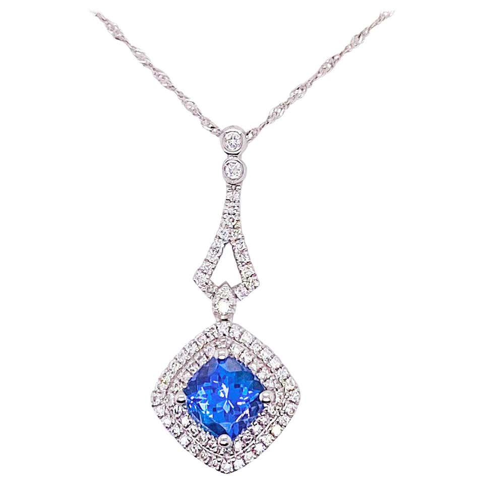 1.5 Carat Tanzanite & Diamond Halo Cushion Pendant 14 Karat White Gold Necklace