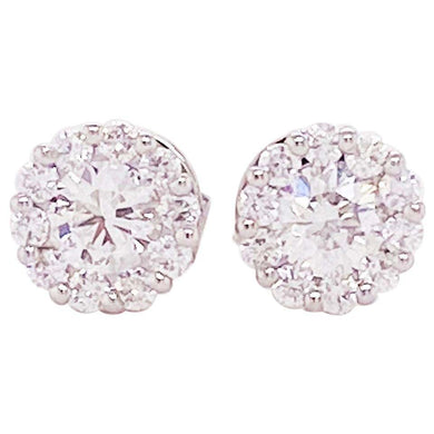 1 Carat Diamond Halo Stud Earrings 18K White Gold Diamond Cluster Earrings 1 ct