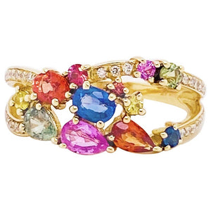 Rainbow Sapphire & Diamond Fashion Ring