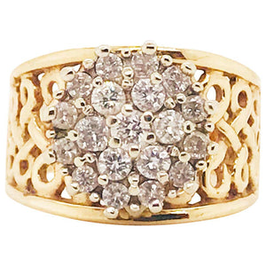 1/2 Carat Diamond Cluster Engagement Ring 14 Karat Gold Filigree Truglo Design