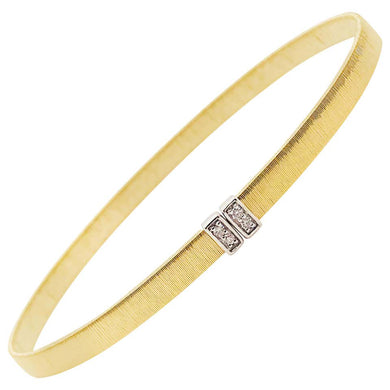 Diamond Bangle Bracelet with 14k Satin Finish, Flexible 14 kt Gold Cuff Bracelet