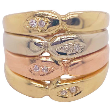 Tri-Color Diamond Mix Ring in 14 Karat Yellow Gold, White Gold, and Rose Gold