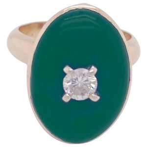 Jade and Diamond 14 Karat Yellow Gold Bezel Bombe Ring