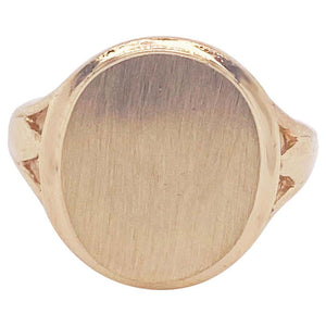 14 Karat Brushed Oval Signet Pinkie Ring