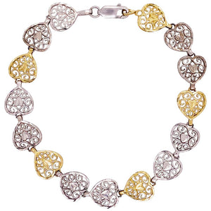 Gold and Silver Heart Bracelet