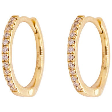 .15 Carat Diamond 14 Karat Gold Huggie Hoop Earrings