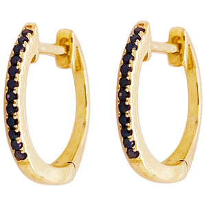 Black Diamond Huggie Earrings 14K Gold, Hinged Earrings