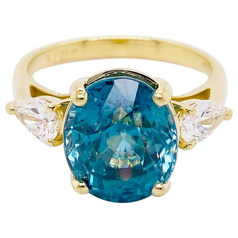 Blue Zircon & Diamond Three Stone Ring