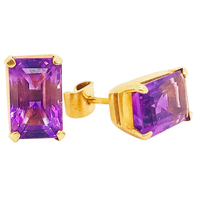 Amethyst 18K Gold Stud Earrings