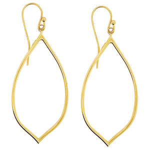 Gold Fashion Open Tear Drop Lemon Shape Dangle Earrings