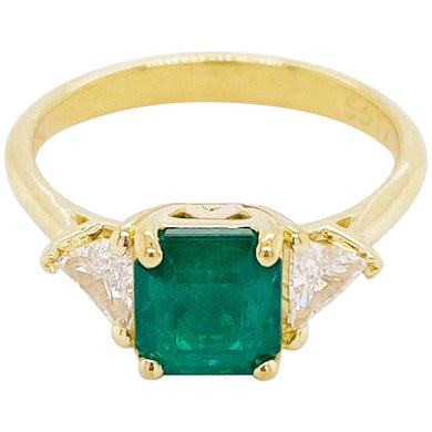 Emerald and Diamond Three Stone Ring, 18k Yellow Gold, Trillion Side Diamonds