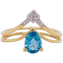 V Pear Blue Topaz and Diamond Ring