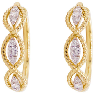 14 Karat Yellow Gold Twisted Layered 20mm Diamond Hoop Earrings