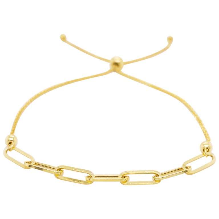 Paper Clip Bracelet with Bolo Adjustable Clasp in 14K Yellow Gold