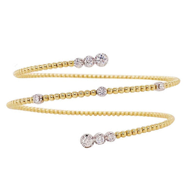Diamond Wrap Bracelet - Flexible Design in 14k Yellow Gold, .58 cttw Diamonds