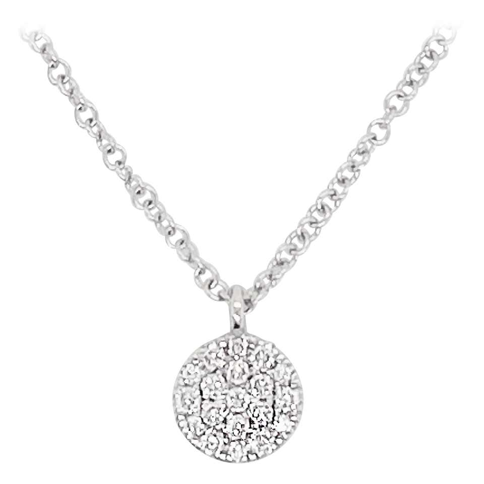 Diamond Disk Necklace, 14 Karat White Gold, Round Pave Diamond Disk Pendant