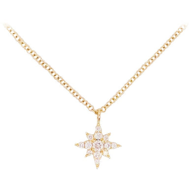 Diamond North Star Necklace in 14 Karat Yellow Gold w Chain