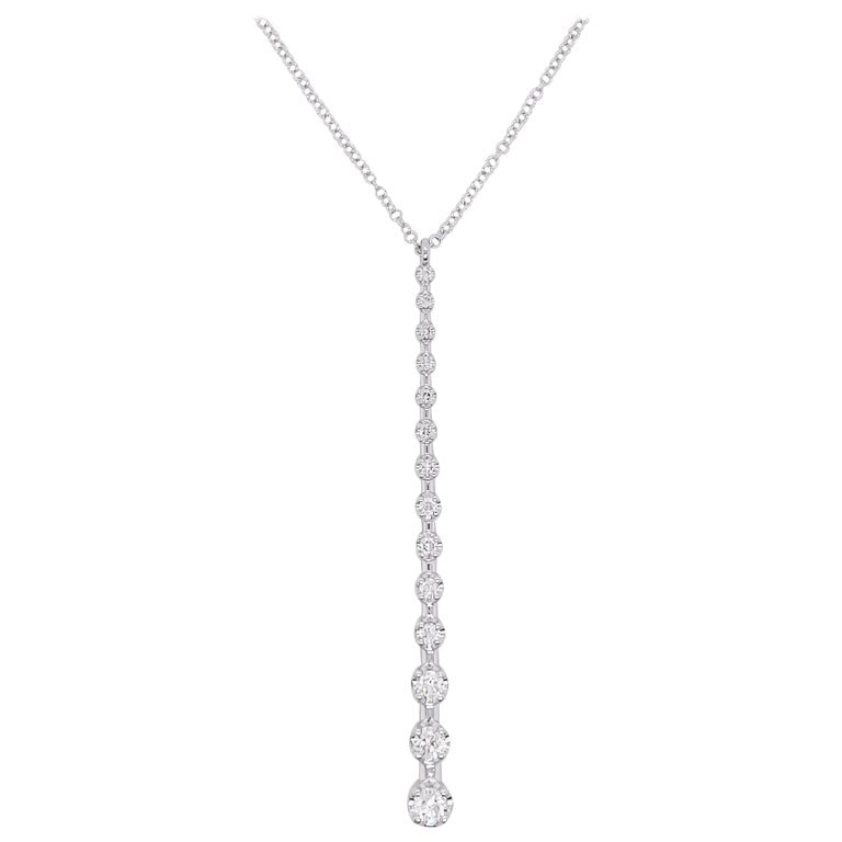 Diamond Drop Necklace - White Gold