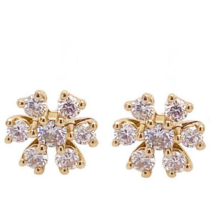 Diamond Flower Cluster Stud Earrings