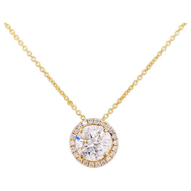 Diamond Halo Necklace, 14 Karat Yellow Gold Bolo Chain .94 Carat Diamond, Choker