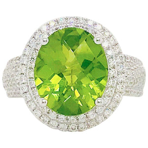 6 Carat Peridot & Diamond Double Halo Ring 14K White Gold Oval Peridot Pave Diamond