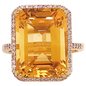 12 Carat Citrine and Diamond Halo Ring 14 Karat Gold Emerald Cut November Gem