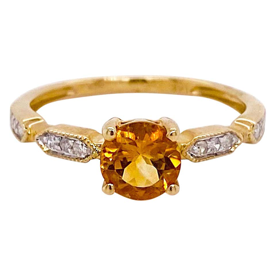 1.00 Carat Citrine & Diamond Ring 14 Karat Yellow Gold Engagement Ring November