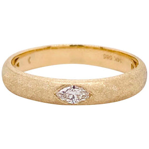 1/10 Carat Marquise Diamond Ring Yellow Gold Brushed Satin Band Gypsy Set, 14K Gold
