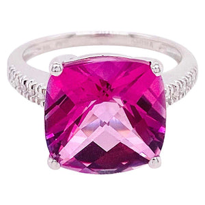 8 Carat Pink Topaz & Diamond Ring 14 Karat White Gold Cushion Cut Pink Topaz